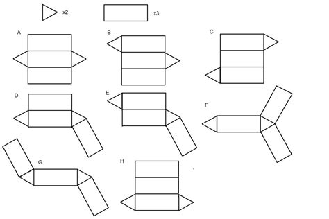 net pattern of triangular prism how many nets can you find for a triangular prism math