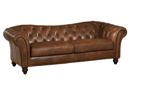 Sofa Leather Brown Mona Top Grain Brown Leather Sofa