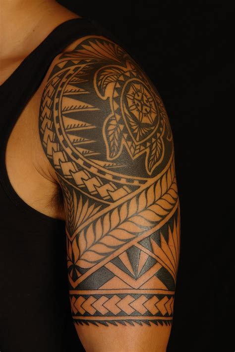 shoulder to arm tattoo designs maori polynesian rotuman on brendon
