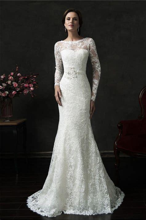 Vintage Wedding Gowns by Mermaid V Back Sleeve Vintage Lace Wedding Dress