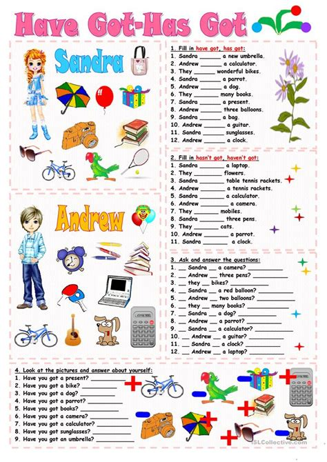 exercises with keys free english materials for you 398 free esl have got or has got worksheets