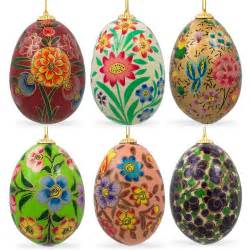 easter egg ornaments 6 flowers wooden easter egg ornaments ebay