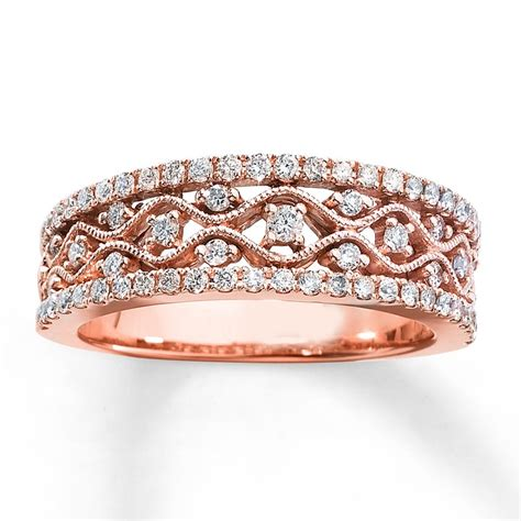 antique  diamond wedding ring band  rose gold
