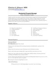 Apartment Property Manager Sle Resume by Manager Apartment Resume