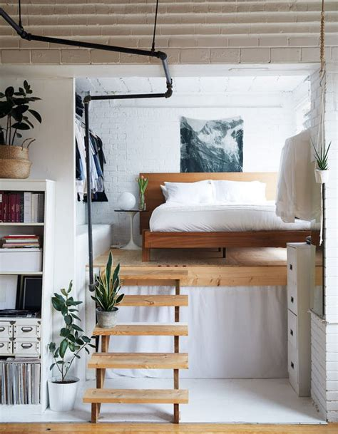 half loft bed small bedroom solution the half loft apartment therapy