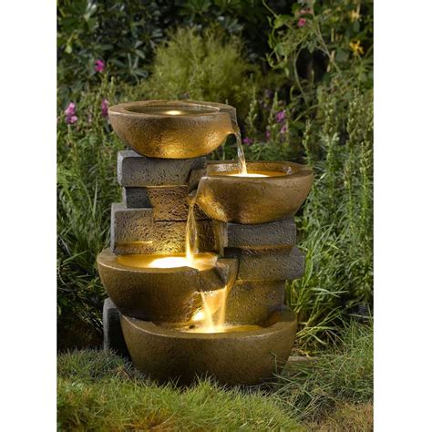 outdoor fountains with lights indoor outdoor 4 tier pots water with led