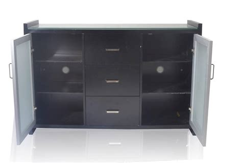 black buffet with drawers urniture glass 3 drawers 2 doors black buffet sideboard