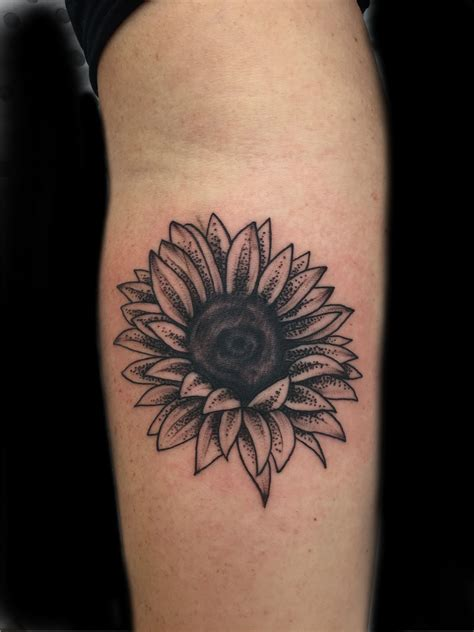 sunflower and rose tattoo primitive perth artist primitive
