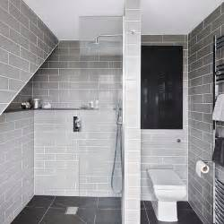 Grey Bathroom Designs grey modern wet room with metro tiles bathroom decorating ideal