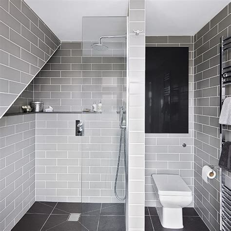 Modern Bathroom Tiles Uk Grey Modern Room With Metro Tiles Decorating