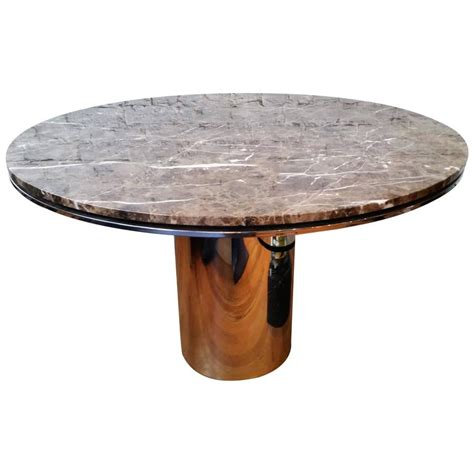 chrome base dining table with granite top at 1stdibs round chrome and marble dining table by brueton for sale