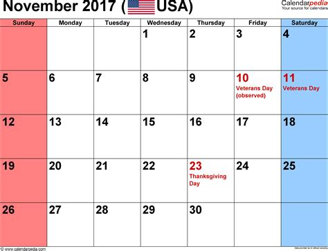 Calendar November 2017 With Holidays 2017 Calendar Printable With Holidays Search Results