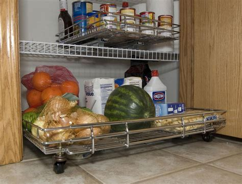 slide out pantry in pull out baskets