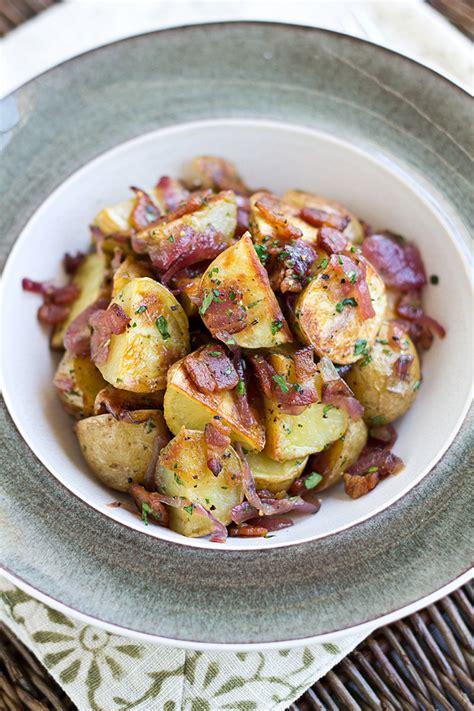 Crispy Salad Potato roasted potato salad with bacon caramelized onions and vinaigrette