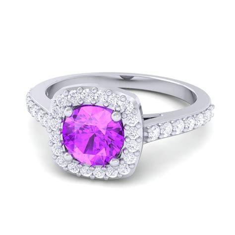 100 real purple amethyst gemstone dimaond halo