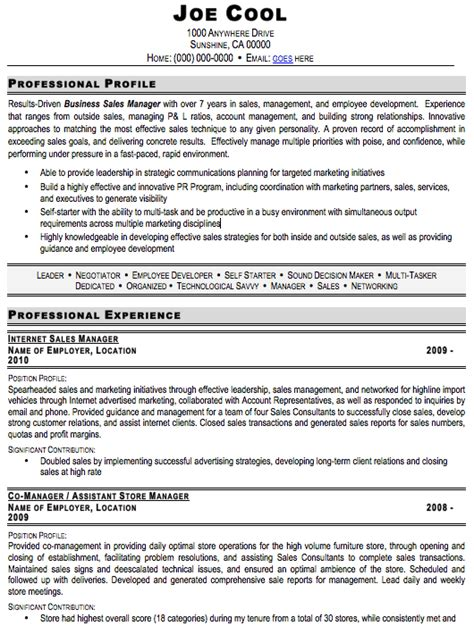 sales manager resume sle free resume template