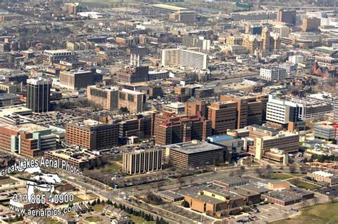 aerial photography  don coles skyline detroit michigan