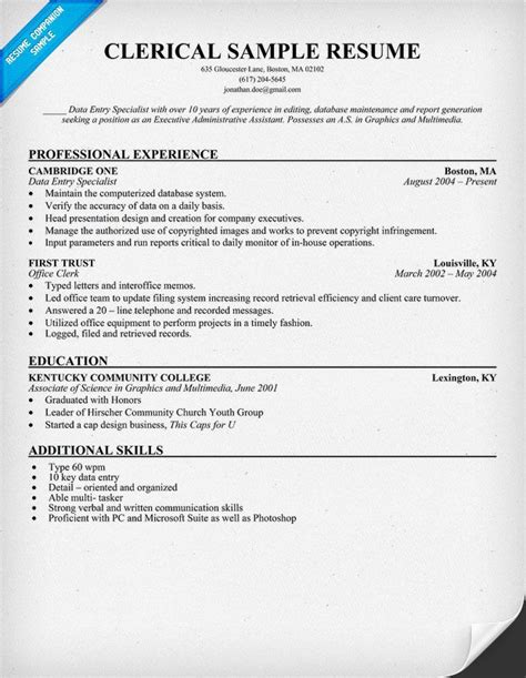 resume templates office clerk 28 images description