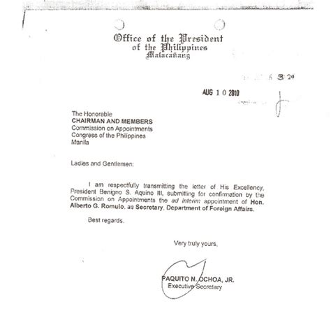 Transmittal Letter Philippines Tordesillas 187 Palace Cures Defective Romulo Appointment