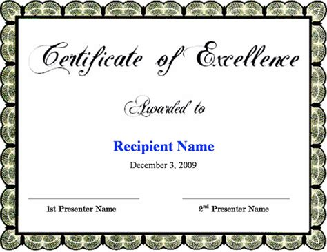 certificate of excellence template free certificate of excellence template certificate templates