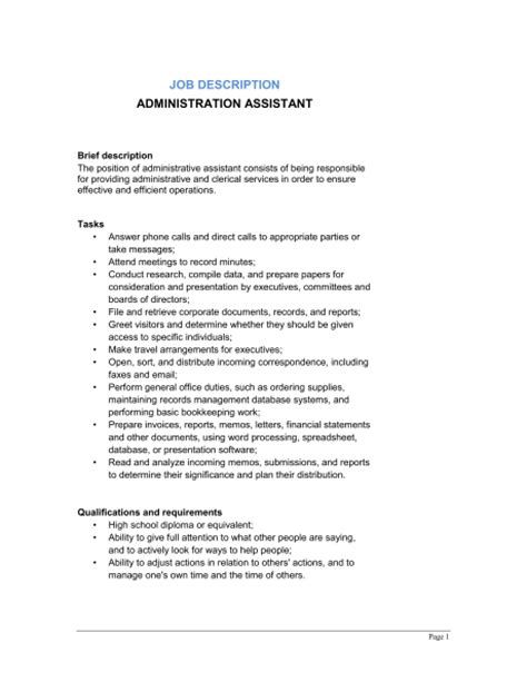 resume templates for administrative assistant administrative