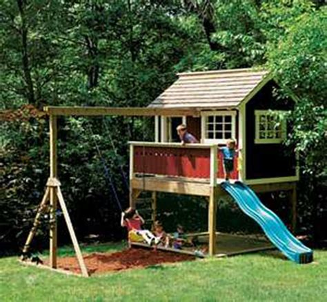 outside playhouse plans play house wooden cedar playset childs playhouse kids