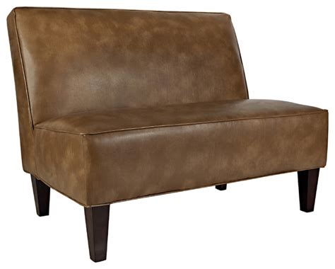 armless loveseat settee portfolio madigan chocolate brown renu leather armless