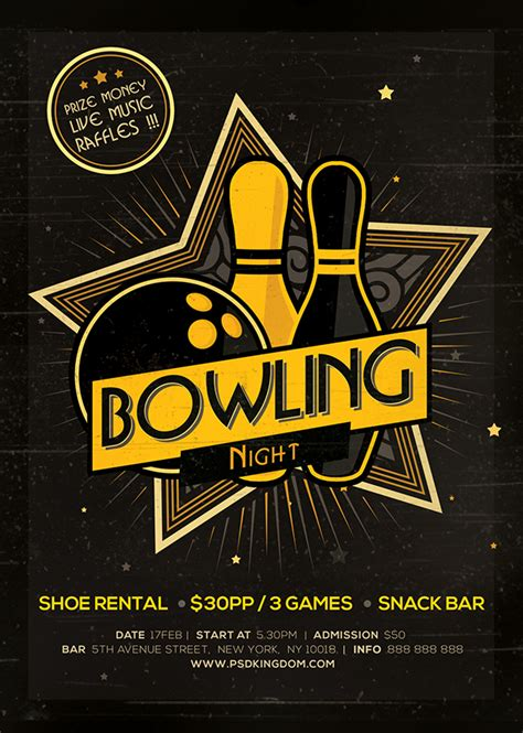 free bowling flyer template bowling flyer magazine ad on behance