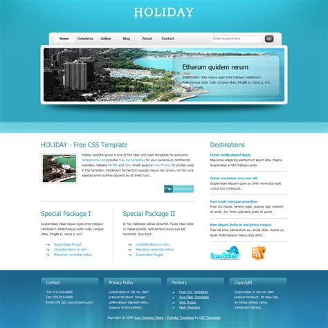 free online home page design template 270 holiday