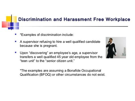 discrimination and harassment free workplace by