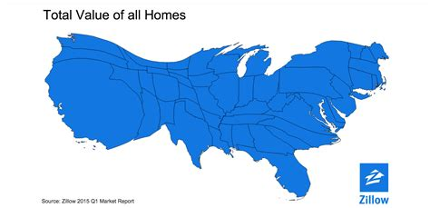 map of us states to scale it s a cartogram of the united states that rescales every