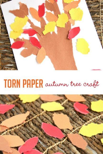Paper Tearing Craft - torn paper autumn tree craft for on as we grow