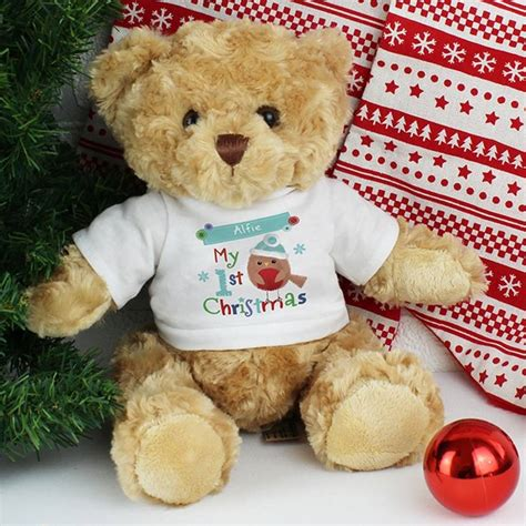 personalised 1st christmas teddy bear by hope and willow