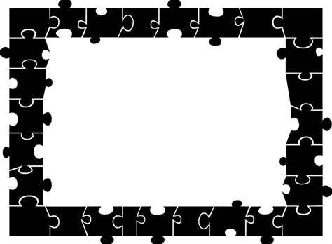 black and white printable jigsaw puzzles puzzle border free clipart best