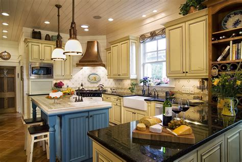 country cabinets kitchen country kitchens ideas in blue and white colors