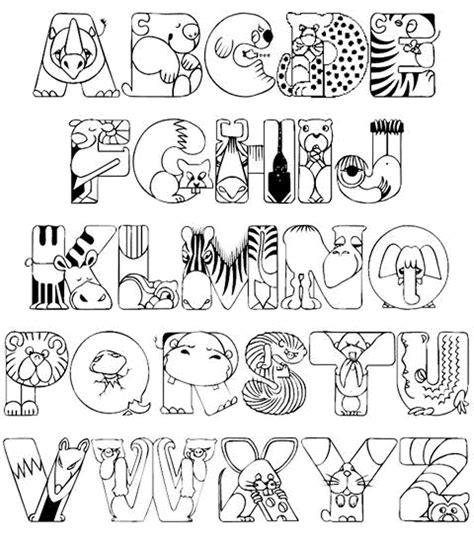abc animals coloring pages kindergarten printable kids colouring pages