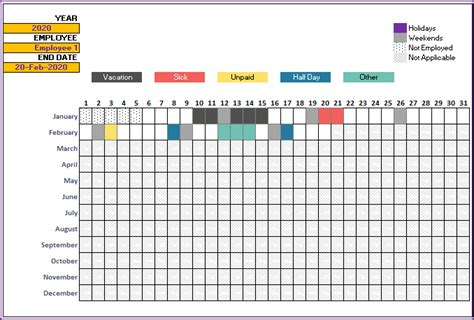 leave tracker vacation tracker  excel template