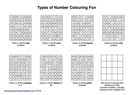 types  number practice colouring fun great maths