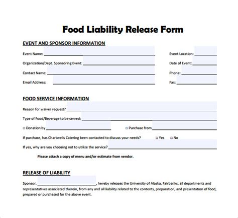 liability form template liability release form exles 9 free