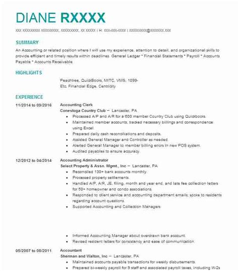 Accounting Clerk Resume Sles by Best Accounting Clerk Resume Exle Livecareer