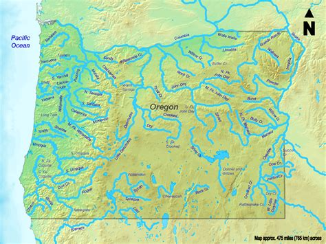rivers map usa map of oregon map rivers worldofmaps net maps