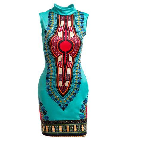 Green Ethnic Dress ethnic style neck sleeveless totem printed green