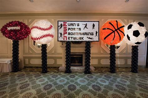 sports themed balloon decor sports balls balloon sculptures with custom themed