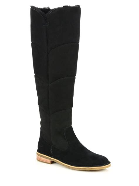 ugg shearling lined suede knee boots in black lyst