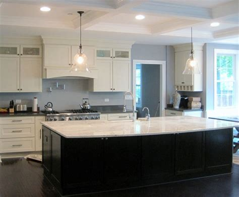White Kitchen Cabinets With Dark Island | white shaker kitchen large dark island modern kitchen