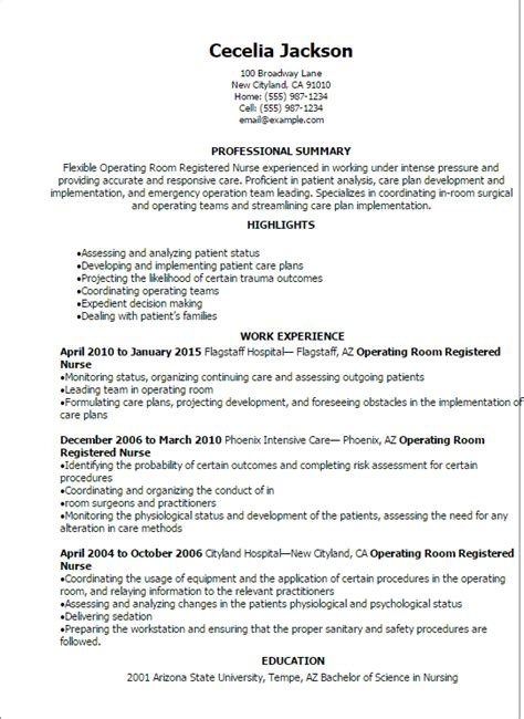 Professional Operating Room Registered Nurse Resume