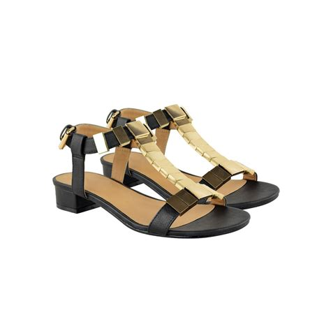 black and gold sandals black faux leather gold trim block heel sandals oriana