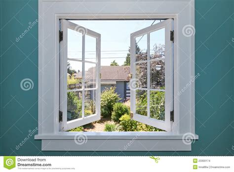 open window    yard  small shed stock images