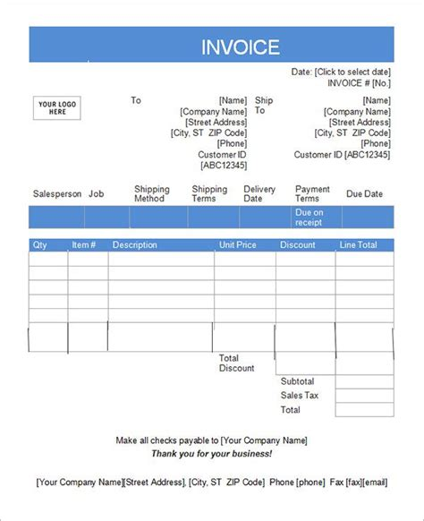 vat tax invoice format in excel free invoice