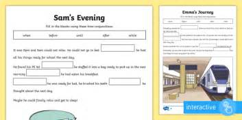 ks2 time conjunctions cloze differentiated go respond activity